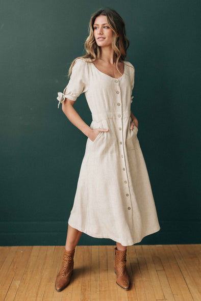 Heather Linen Midi Dress in Oatmeal