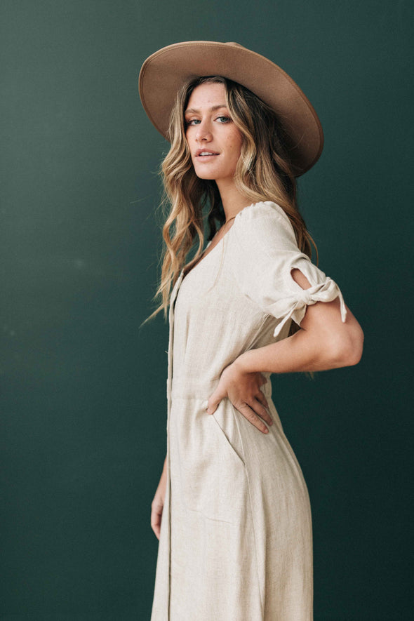 Heather Linen Midi Dress in Oatmeal - Robbie + Co.