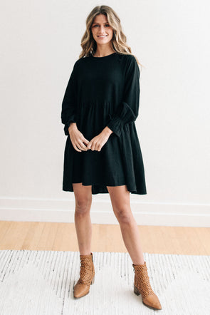 Miranda Babydoll Dress in Black - Robbie + Co.
