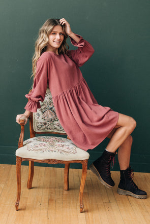 Miranda Babydoll Dress in Berry