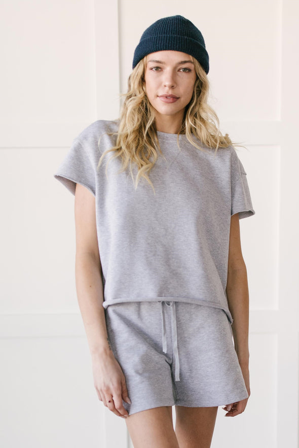 Kaycee Shorts Set in Heather Grey
