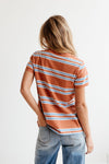 Thomas Stripe Tee in Brick - Robbie + Co.