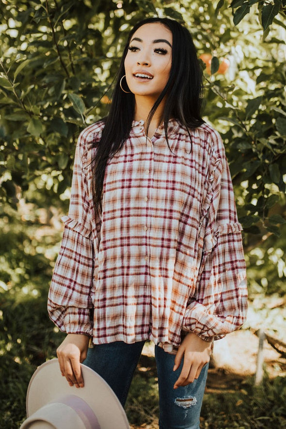 Nettie Plaid Peasant Blouse - Robbie + Co.