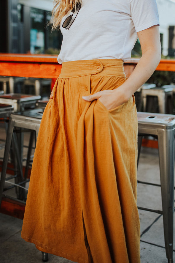 Patio Midi Skirt in Mustard - Robbie + Co.