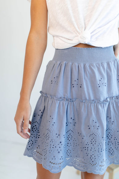 Mara Eyelet Skirt in Dusty Blue - Robbie + Co.