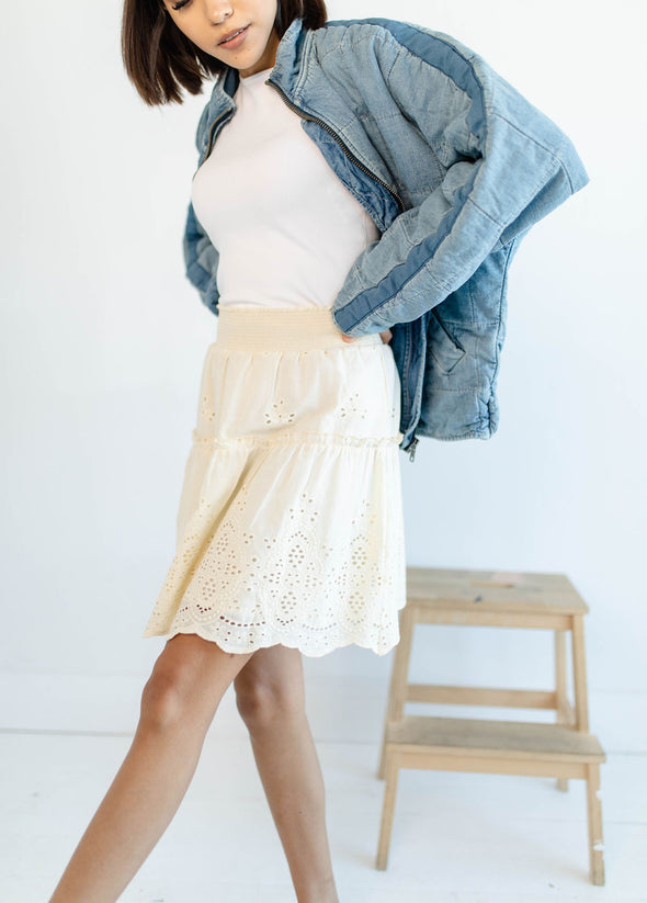 Mara Eyelet Skirt in Cream - Robbie + Co.