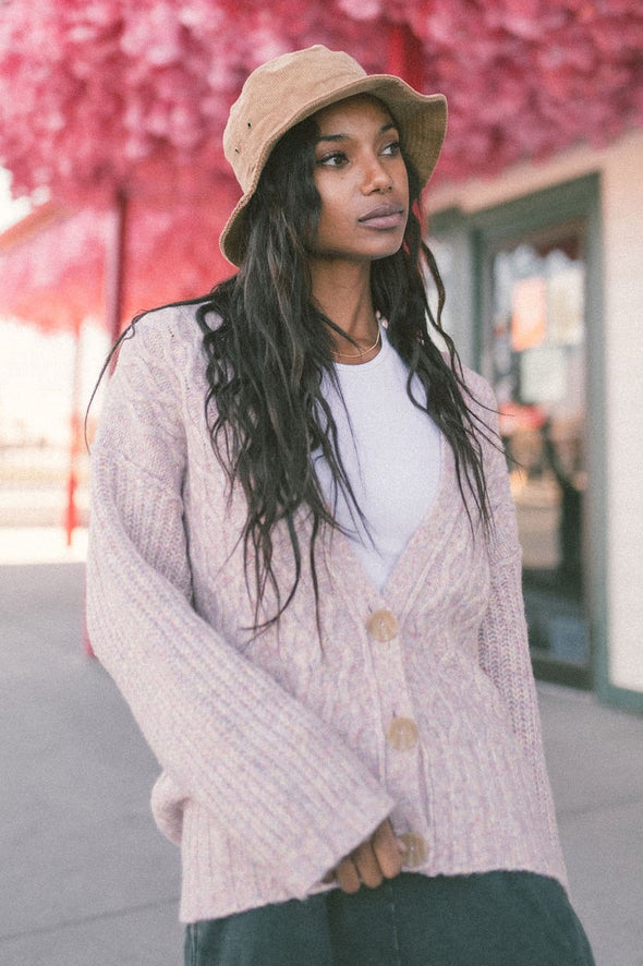 Free People Molly Cable Cardi in Angel Food Cake