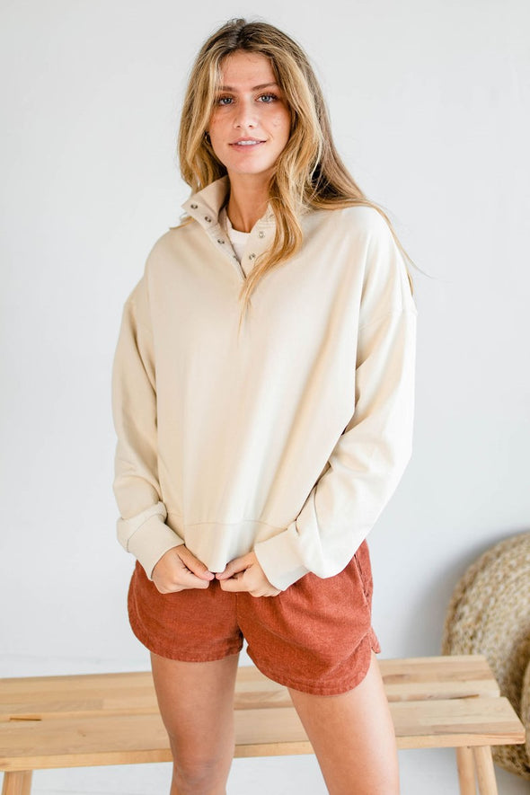 Norman Popover Sweatshirt in Sand - Robbie + Co.