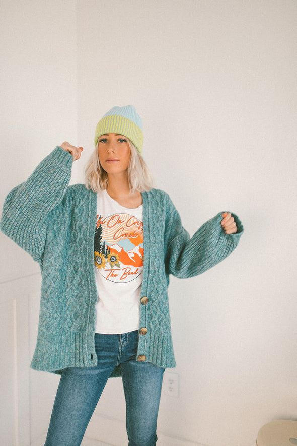 Free People Molly Cable Cardi in Tropical Teal