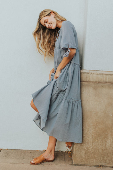 Chloe Dress in Misty Blue