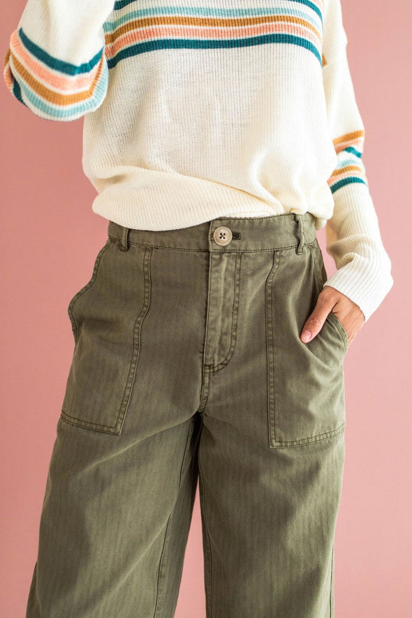 Free People Sunday Skies Pant in Moss - Robbie + Co.