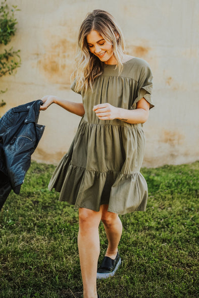Tatum Dress in Olive - Robbie + Co.