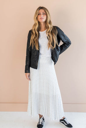 Odessa Pleated Skirt in Ivory - Robbie + Co.