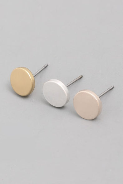 Simple Circle Stud Earrings (3 Colors Available)