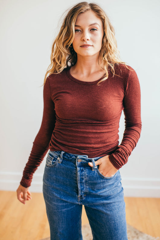 Free People Boundary Layering Top in Chestnut - Robbie + Co.