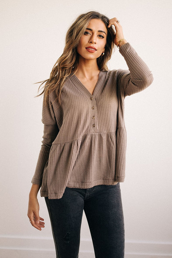 Stella Henley Peplum Top in Taupe