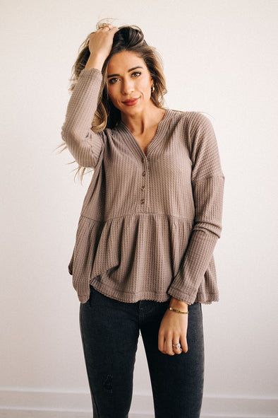 Stella Henley Peplum Top in Taupe - Robbie + Co.