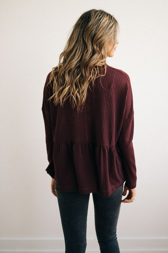 Stella Henley Peplum Top in Merlot - Robbie + Co.