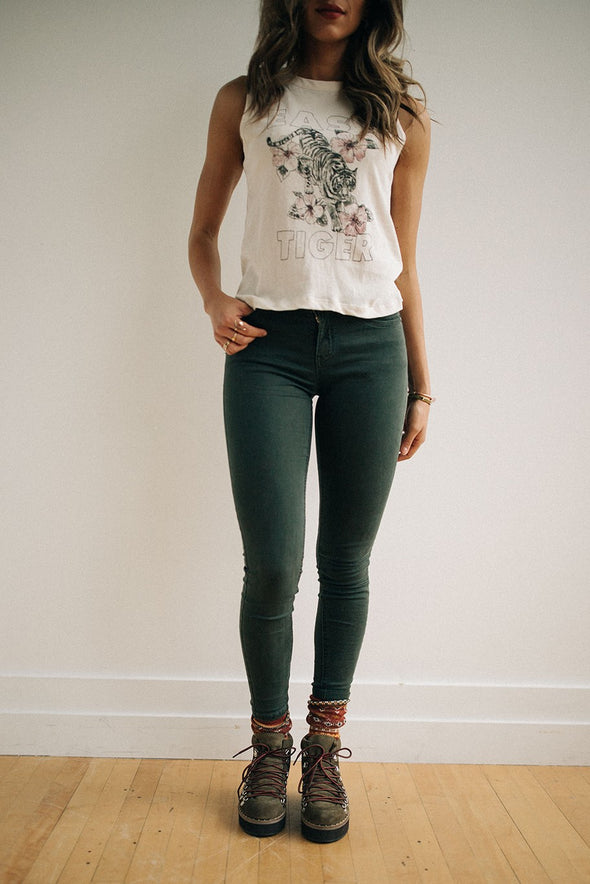 Jermaine Skinny Jeans in Moss Green - Robbie + Co.