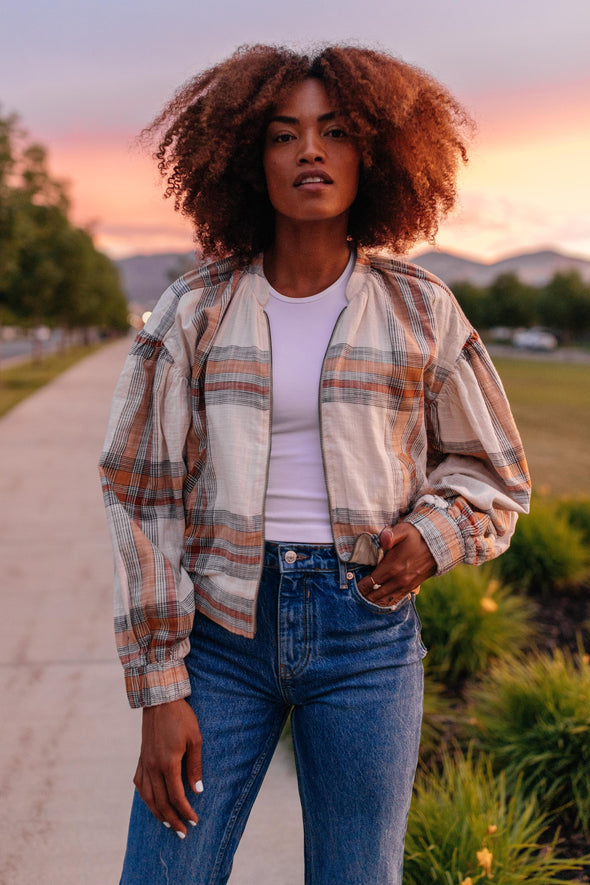 Free People Mattie Plaid Bomber Jacket
