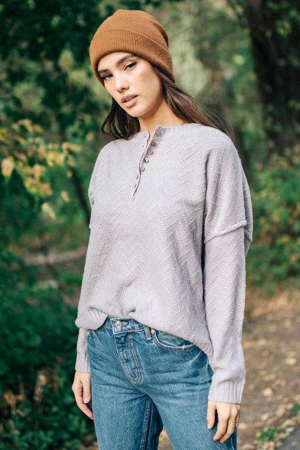 Upstate Henley Sweater in Ash