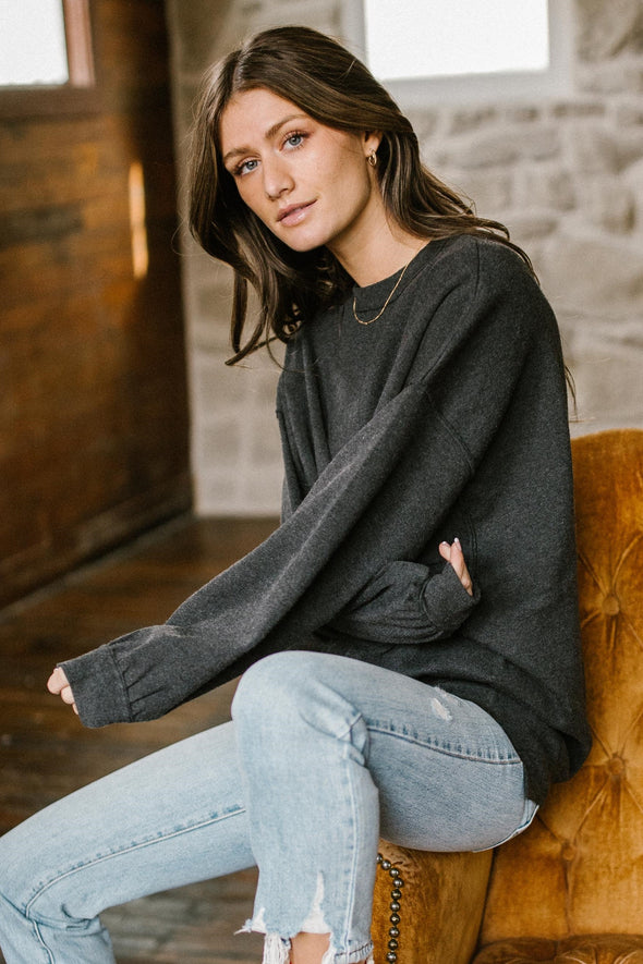 Free People Uptown Pullover in Carbon Copy
