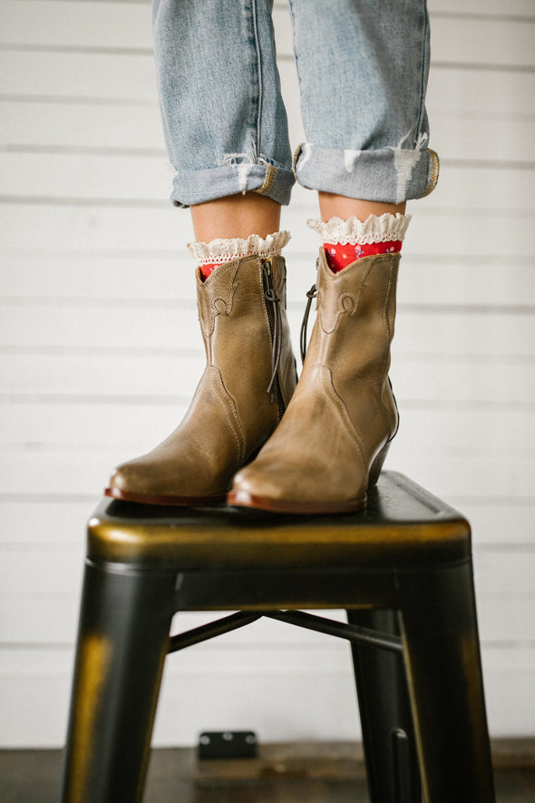 Free People New Frontier Western Boot in Distressed Tan
