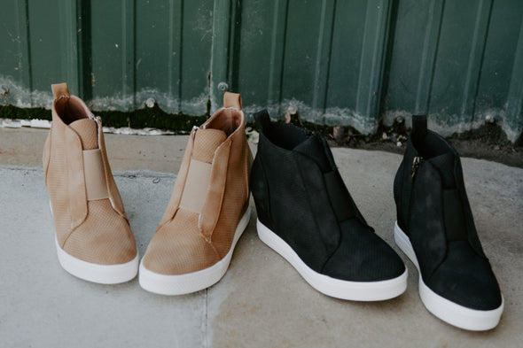 Zoey Wedge Sneaker in Camel - Robbie + Co.