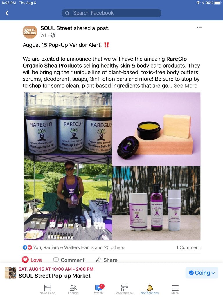Join Us at YMCA of  Frederick, Md For Soul Street PopUp | RareGlo Organic Shea Products