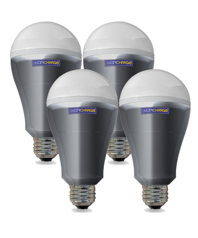 4 Pack SmartCharge Power Outage LED Bulb with Rechargeable Battery FREE SHIPPING