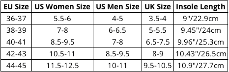 Nequis Water Shoes Size Chart