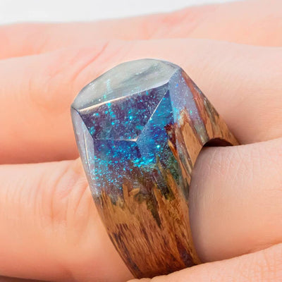 Mystic Lagoon Wooden Resin Ring