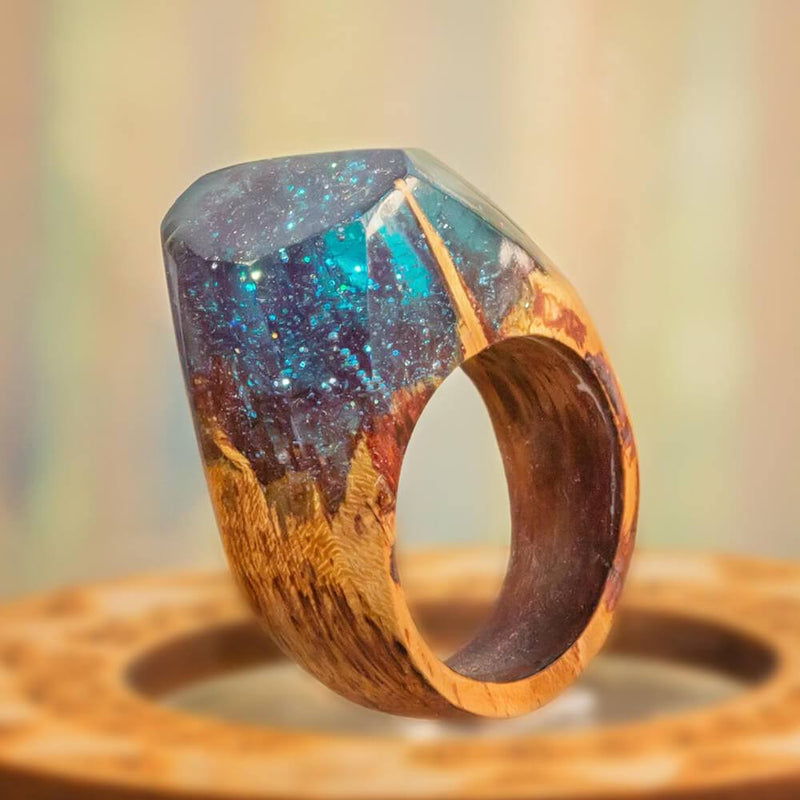 «Mystic Lagoon» Wooden Resin Ring