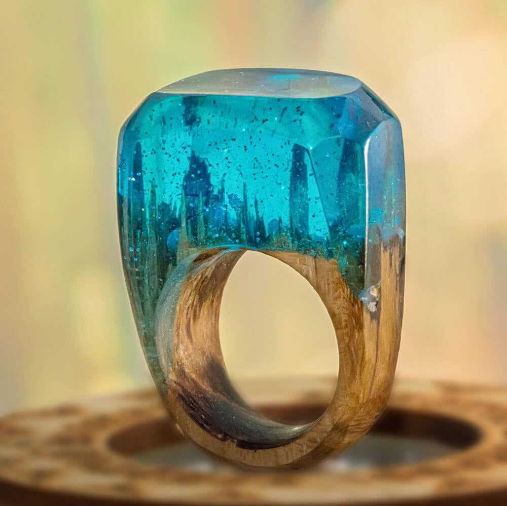 «Blue Ocean» Wooden Resin Ring