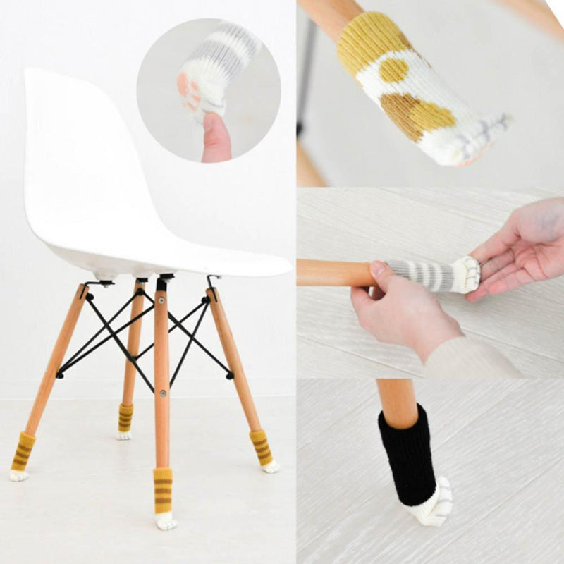 «CatPaw» Knitted Chair Leg Socks Floor Protector (8pcs)
