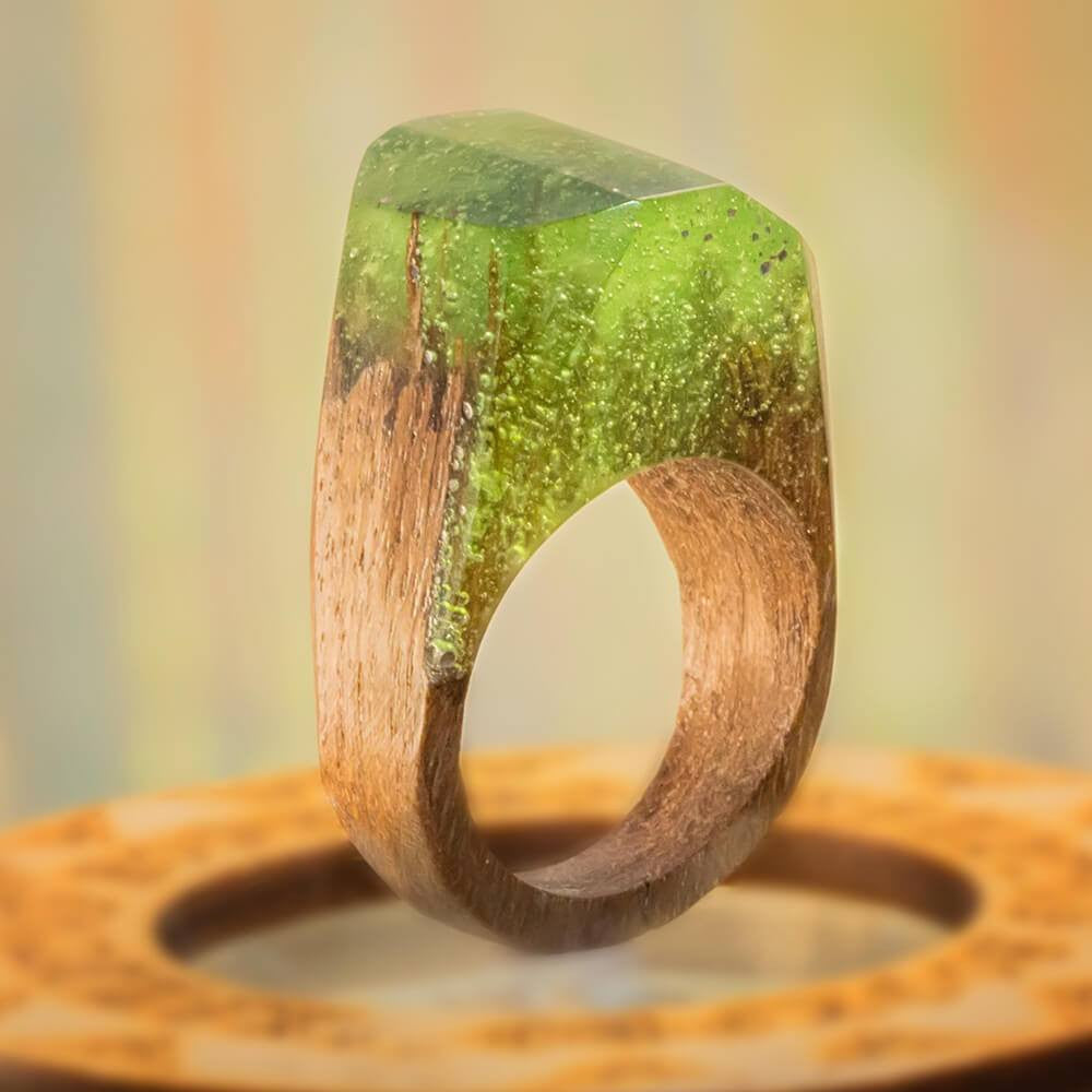 «Green Woods» Wooden Resin Ring