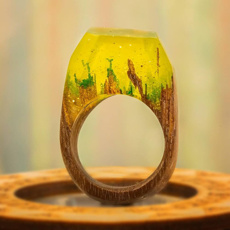 «A Piece of the Sun» Wooden Resin Ring
