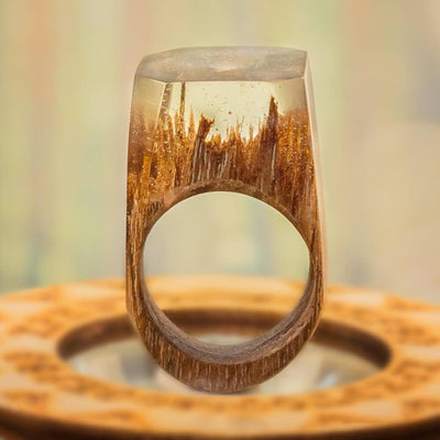«Clear Day In The Woods» Wooden Resin Ring