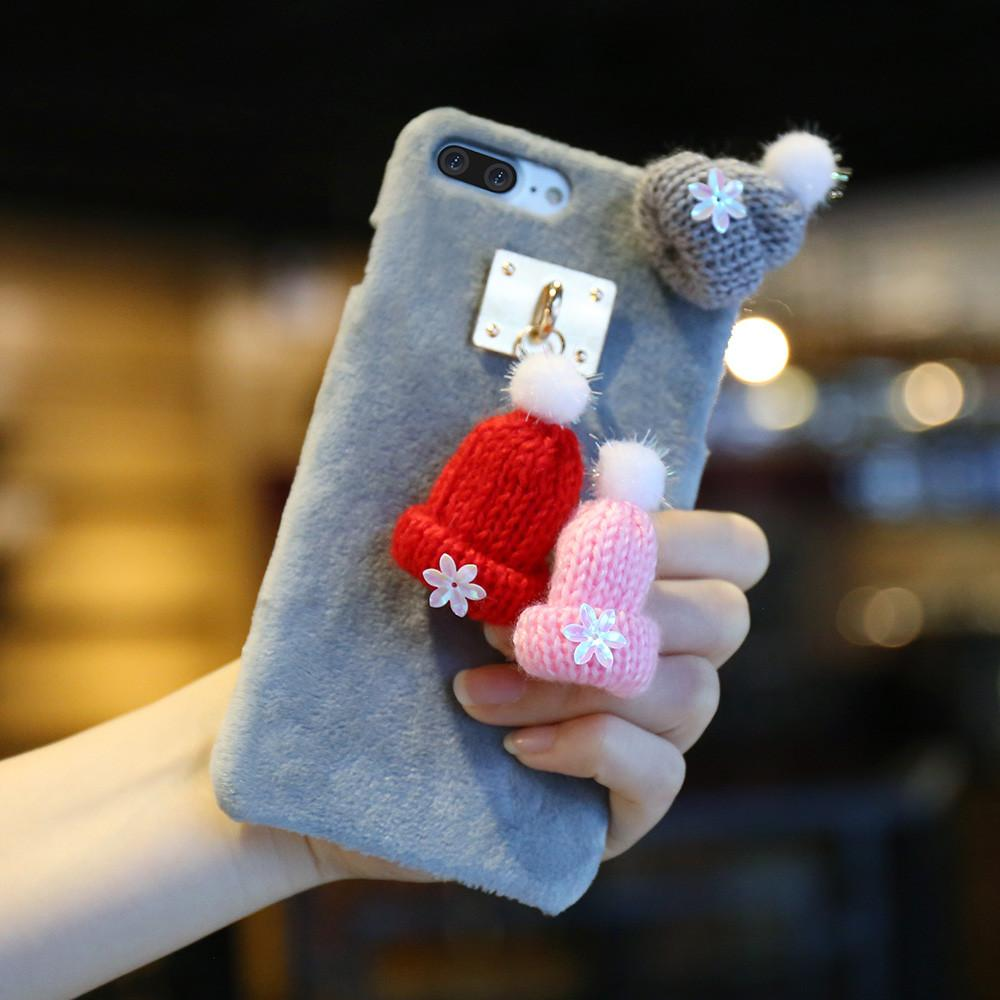 Winter Knitted Hats Plush iPhone Case