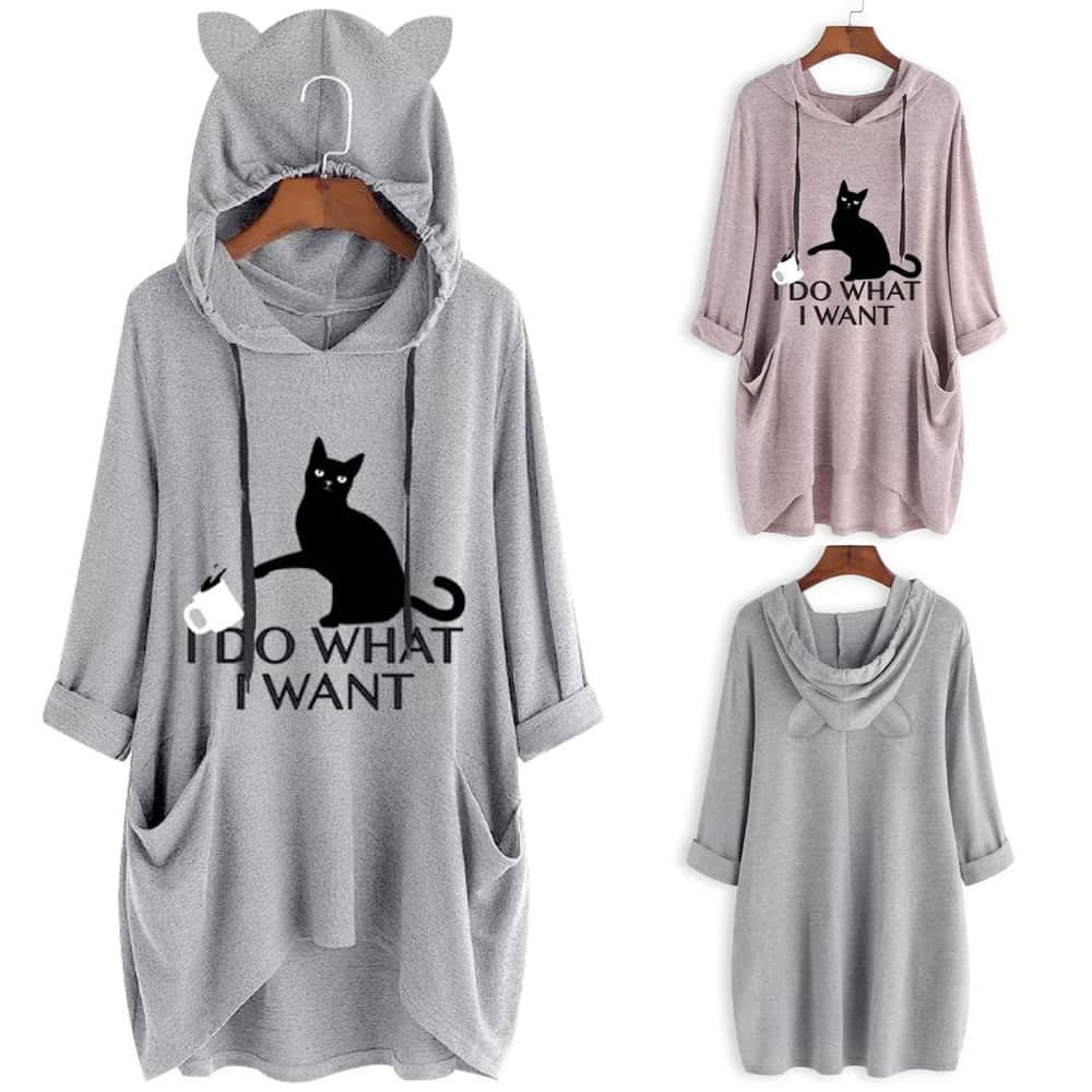 «I Do What I Want» Oversized Cat Ear Hoodie