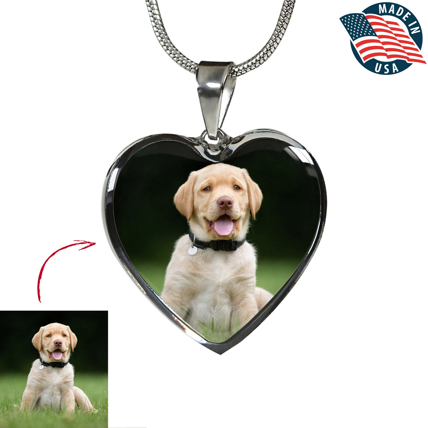 Personalized Pet Photo Heart Necklace/Bangle