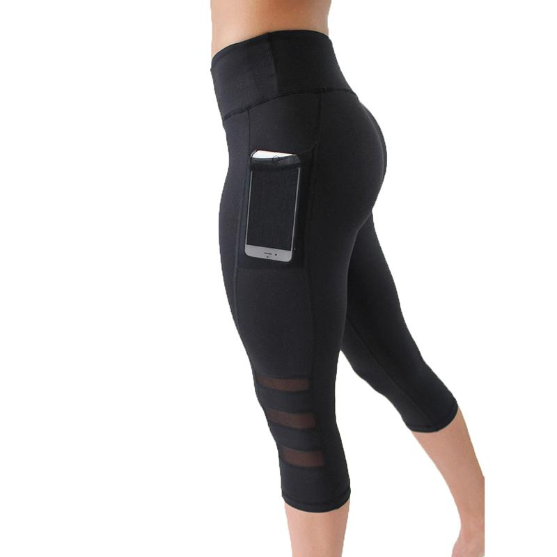 High Waist Mesh Capri w/ Pocket