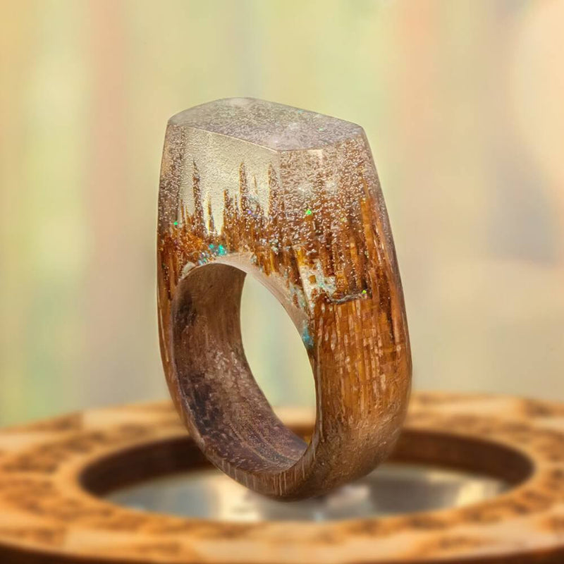 «The First Snow» Wooden Resin Ring