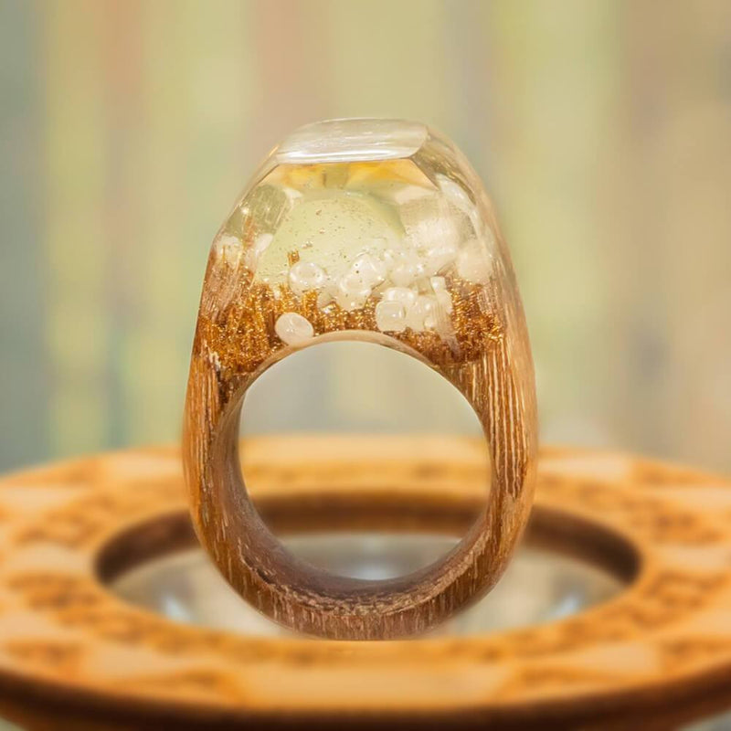 «Crystal Treasures» Wooden Resin Ring