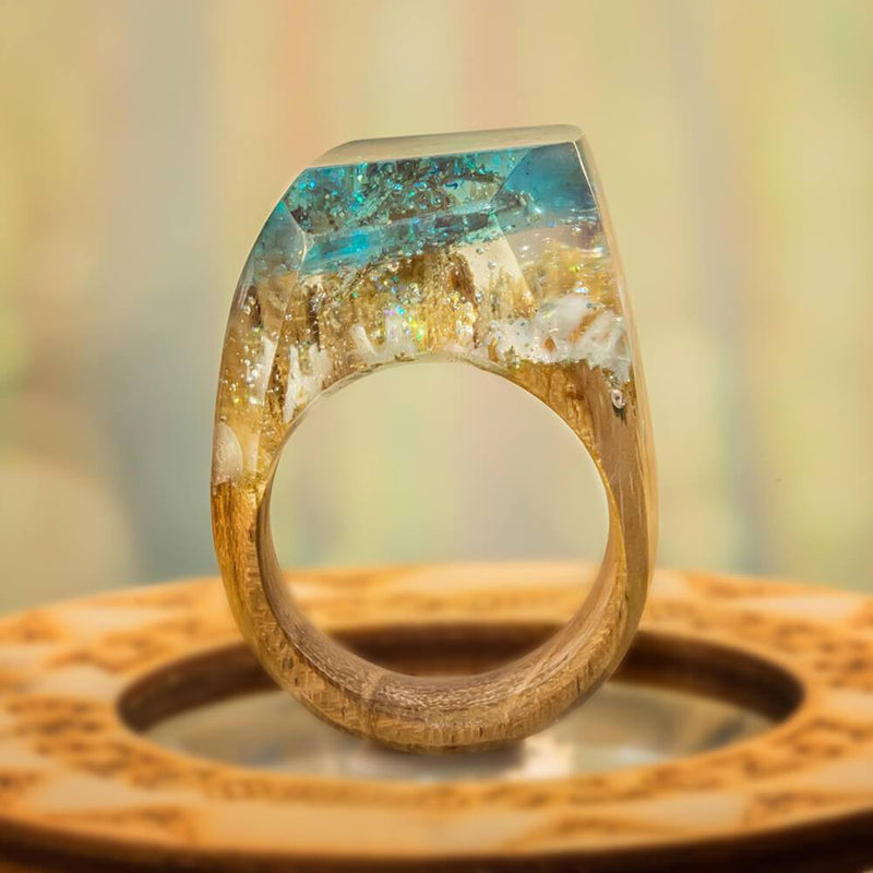 «Winter Morning» Wooden Resin Ring