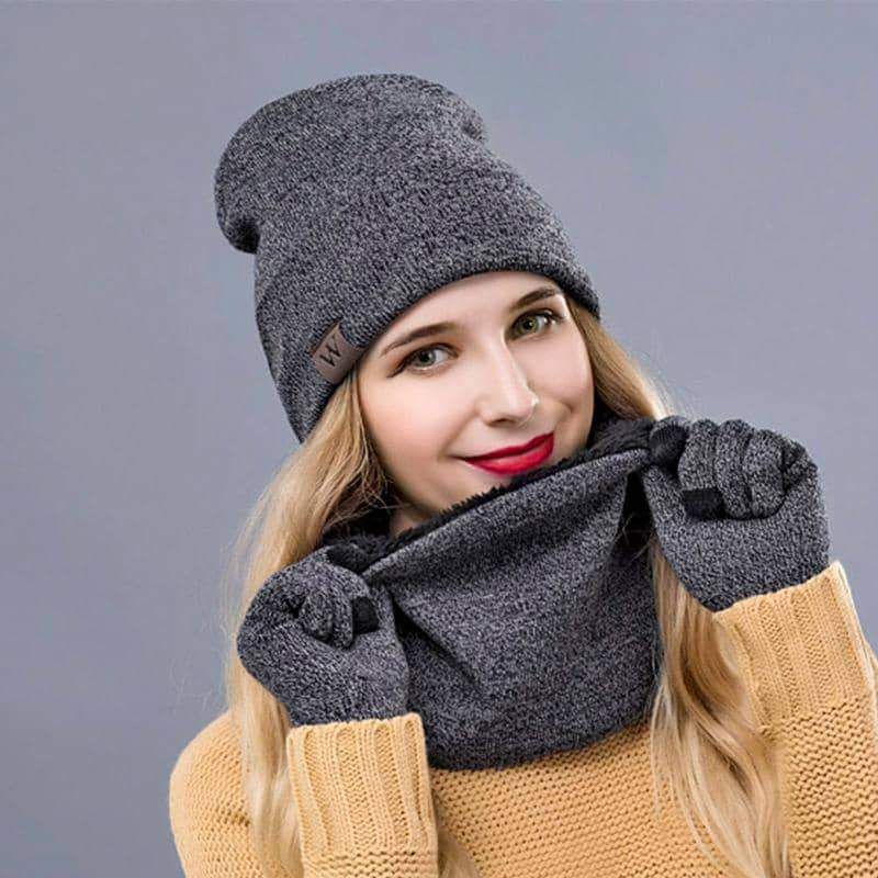 Winter Warm Beanie&Scarf&Gloves Set