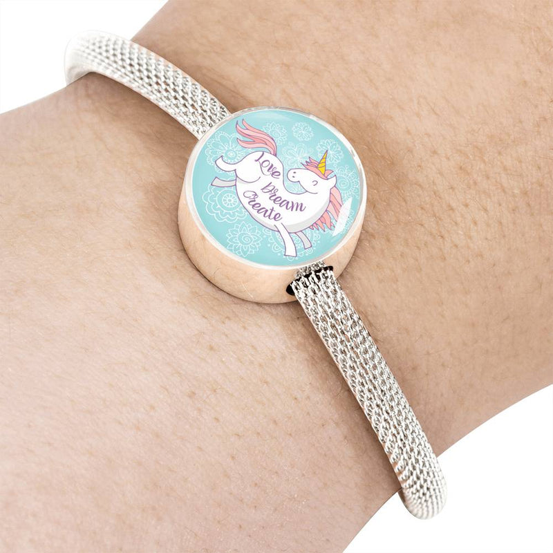 «Love, Dream, Create» Unicorn Luxury Steel Bracelet