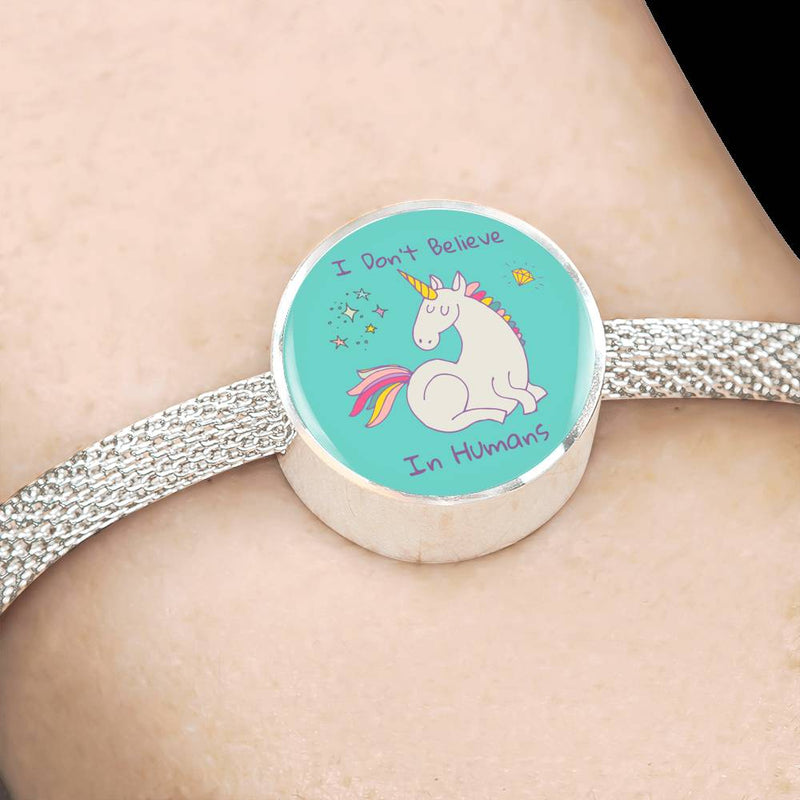 «I Don't Believe In Humans» Unicorn Luxury Steel Bracelet