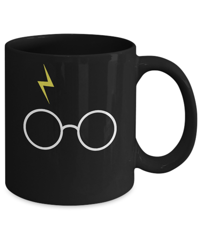 «Harry Potter's Glasses & Lightning Bolt Scar» Coffee Mug (Black)