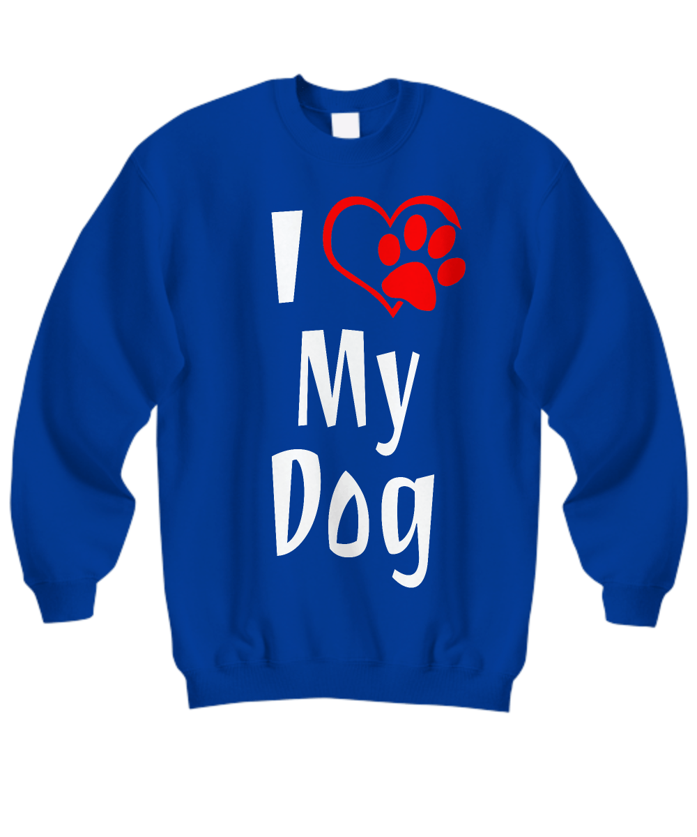 «I Love My Dog» Sweatshirt (white & red print)
